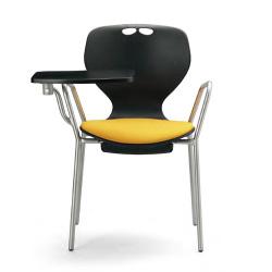 流線型デザインが個性的。11種から座面カラーを選べます。メモ台付会議用チェア4脚セット。AICO【MC-414TWB】