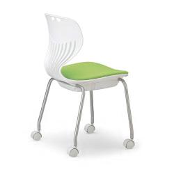流線型デザインが個性的。11種から座面カラーを選べます。会議用チェア4脚セット。AICO【MC-424WB】