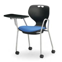 流線型デザインが個性的。11種から座面カラーを選べます。メモ台付会議用チェア4脚セット。AICO【MC-434TWB】