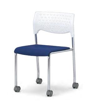 会議用チェア4脚セット 【キャスター付き】パイプ椅子 クロームメッキ脚 【肘掛なし】 AICO(アイコ) 【個人宅不可】 MC-231WG