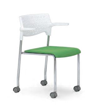 会議用チェア4脚セット 【キャスター付き】パイプ椅子 クロームメッキ脚 【肘掛付】 AICO(アイコ) 【個人宅不可】 MC-232WG