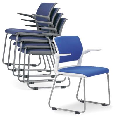 【送料無料】会議用チェア4脚セット パイプ椅子 粉体塗装脚 【肘掛付】 AICO(アイコ) 【個人宅不可】 MC-252WG