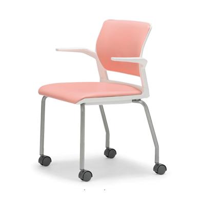 【送料無料】会議用チェア4脚セット キャスター付き パイプ椅子 粉体塗装脚 【肘掛付】 AICO(アイコ) 【個人宅不可】 MC-256WG