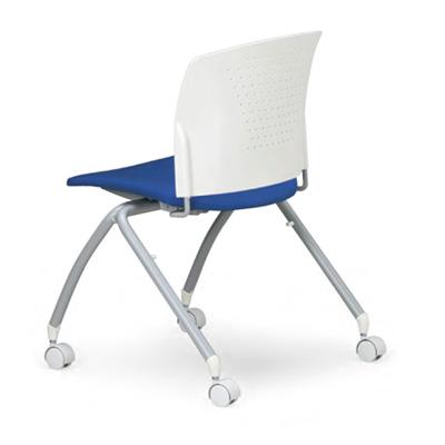 【スタッキング可】空間に変化を持たせる華やかなカラー。脚部が特徴の会議用チェア2脚セット。(キャスター付)AICO【MC-324WG】