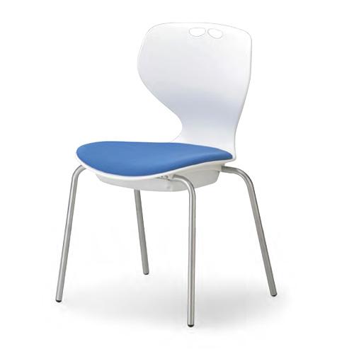 流線型デザインが個性的。11種から座面カラーを選べます。会議用チェア4脚セット。AICO【MC-404WB】