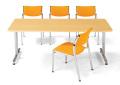 会議用テーブル 幅1800×奥行750 角形 クロームメッキ仕上脚 AICO(アイコ) 【個人宅不可】 MT-1875K