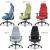 オフィスチェアMS-1455のカラーバリエーション。ブルー、グリーン、レッド、グレー、ブラック
