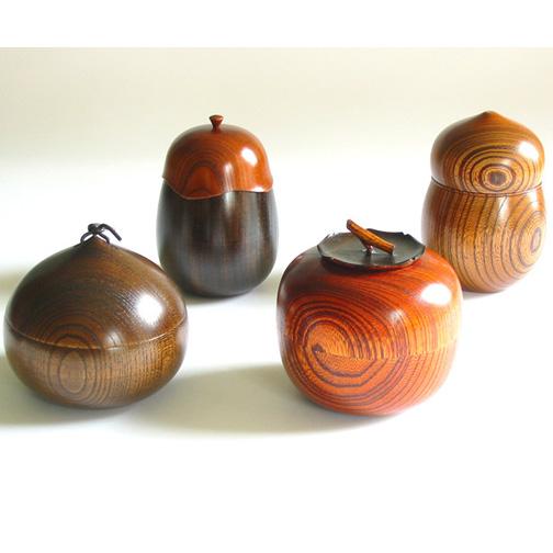 茶入 欅 【送料無料】 茶筒 木製 漆塗り