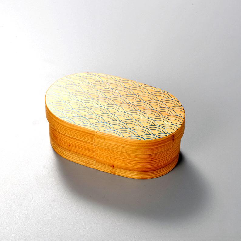 青海波 日本の弁当箱 小判 【送料無料】  木製