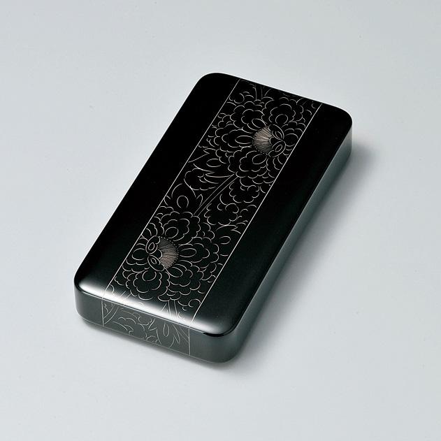 プラチナ牡丹彫 硯箱 黒  【送料無料】 漆塗り・木製