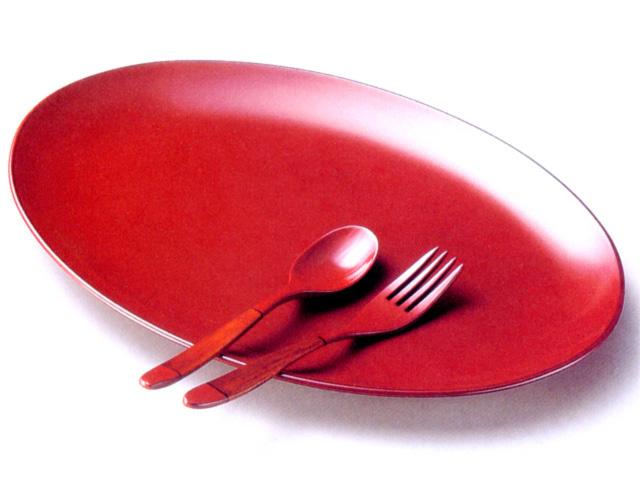 パスタ皿スプーン・フォーク付(製造中止) 漆塗り 中皿