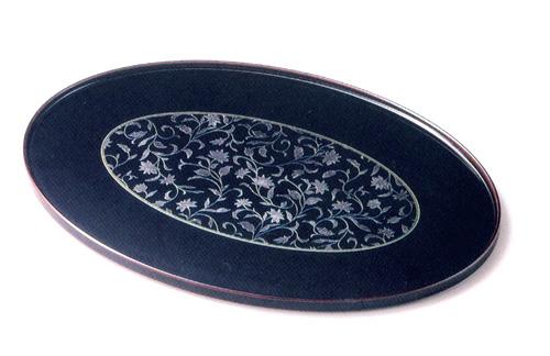 13.0 オーバル盆 アールデコ 溜(製造中止) 木製 漆塗り トレー