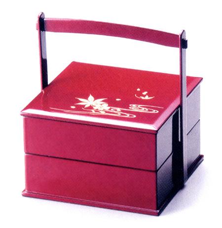 手提二段重箱 雲錦流水 5.5寸 【送料無料】 木製 漆塗りお重箱