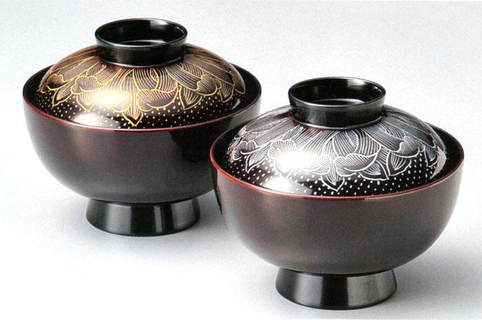 夫婦椀 金銀巴菊 溜内黒(製造中止) 木製 漆塗り ペアの吸物椀