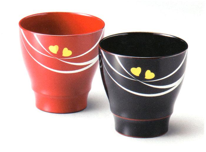 ペアカップ 絆 黒・朱(製造中止) 漆塗り