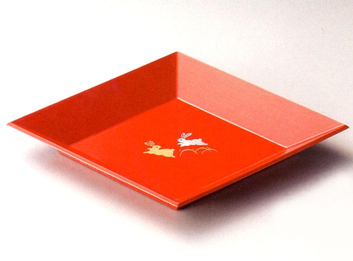 菱皿 うさぎ 洗朱(製造中止) 木製 中皿