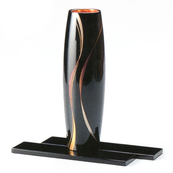 花器 胴張 ライン蒔絵 黒(製造中止) 木製 漆塗り 花瓶