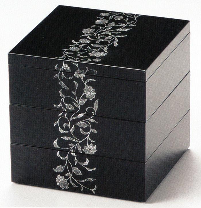 三段重箱 5.5寸 アールデコ 溜 【送料無料】 10-15102
