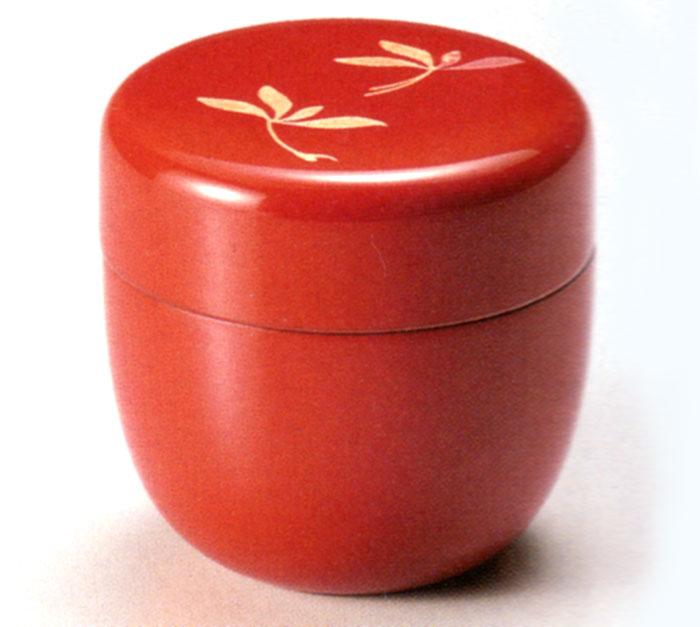 中棗 蘭 朱 漆塗り お茶道具