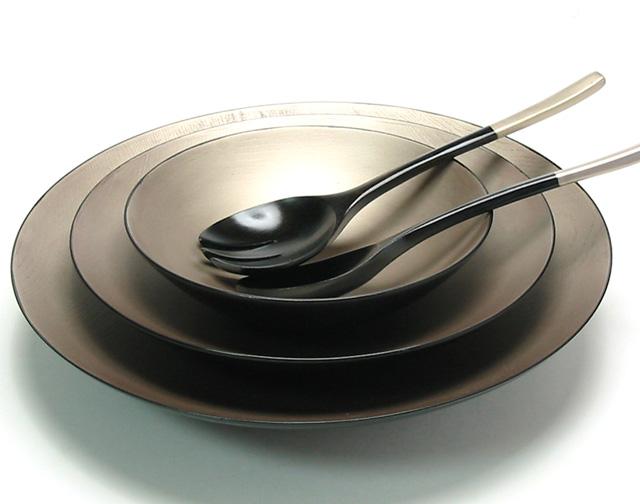 三つ組鉢 内錫 欅 サーバー付 【送料無料】 木製 大鉢・中鉢セット