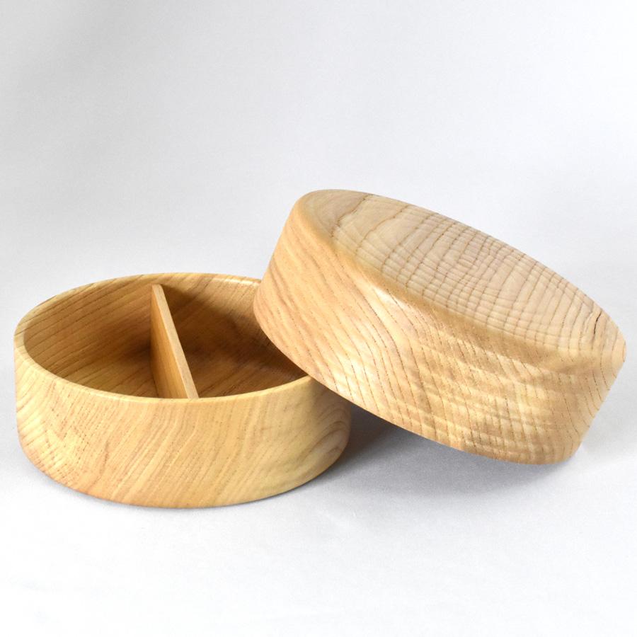 木製丸ランチボックス 仕切り付き
