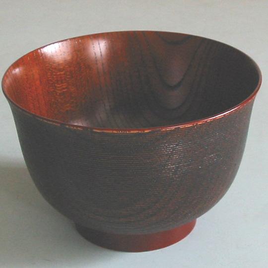 汁椀 千筋 羽反 木製 漆塗り 木のお椀・味噌汁椀