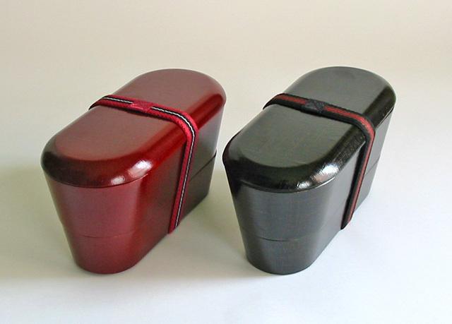 入子小判弁当箱 布目 黒(製造中止) 木製 漆塗り 木のランチボックス