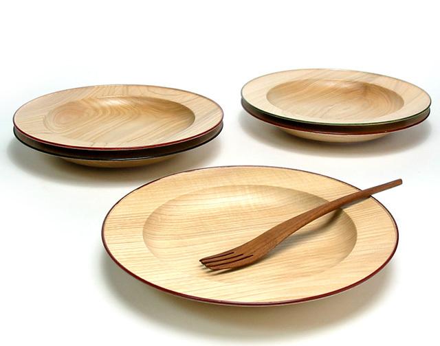 パスタ皿セット ナチュラル フォーク付 【送料無料】木のお皿 木製 中皿
