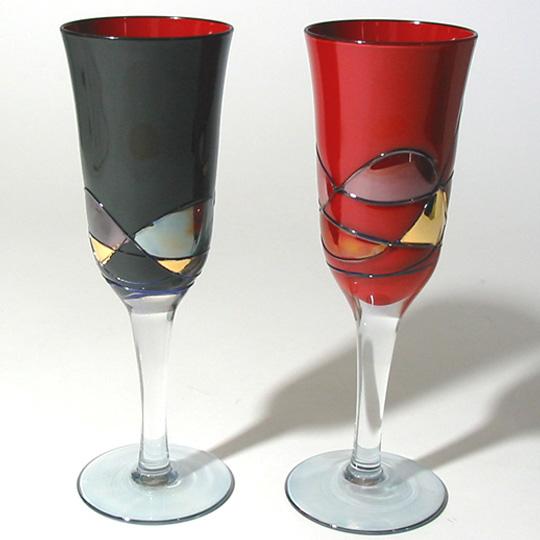 漆ペアフルートグラス (製造中止)【送料無料】 漆塗り