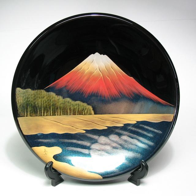 飾り皿 富士に松原 黒 【送料無料】 木製 漆塗り 絵皿 インテリア