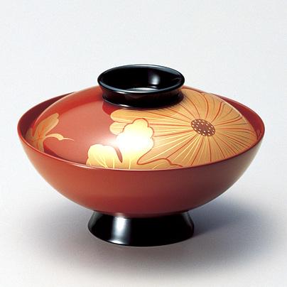 吸物椀 白菊 古代朱  5客セット【送料無料】 漆塗り