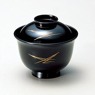 小吸椀 松葉 黒  5客セット【送料無料】 漆塗り・木製