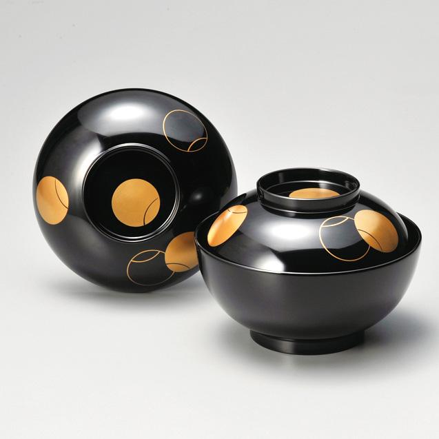 煮物椀 つぼつぼ 黒  漆塗り 雑煮椀