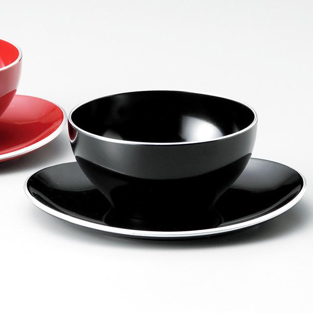 デザートカップ&ソーサー 銀ライン 黒
