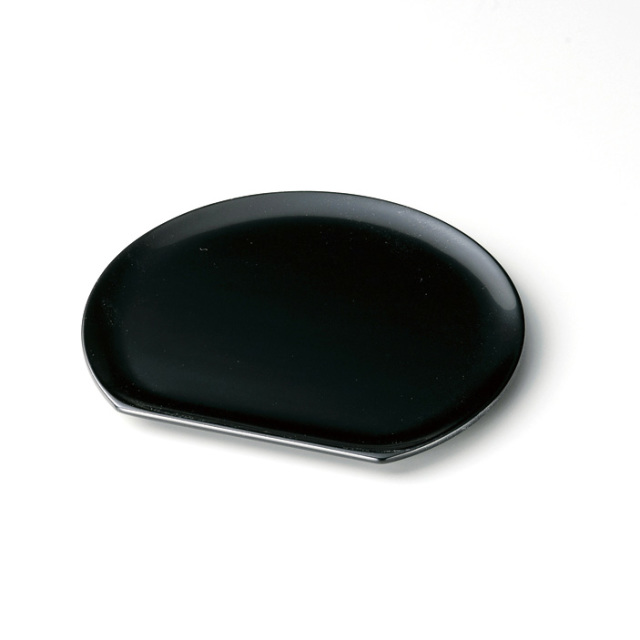 半月銘々皿 黒 5枚セット【送料無料】 漆塗り・木製