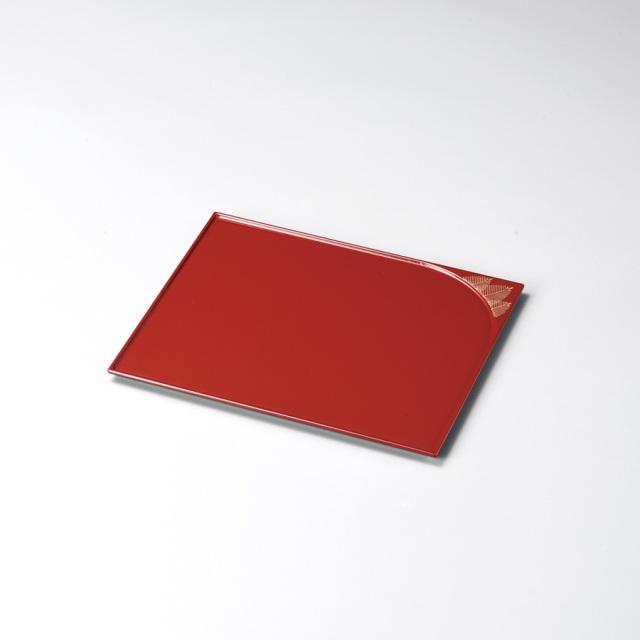松 誰袖形銘々皿 朱 5枚セット【送料無料】 木製