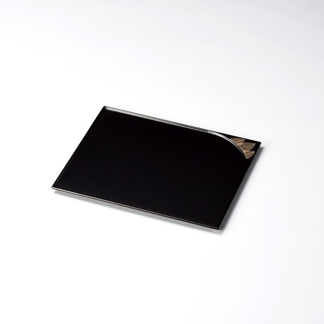 松 誰袖形銘々皿 溜 5枚セット【送料無料】 木製