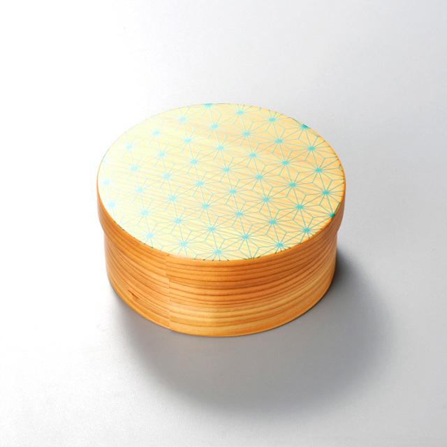 麻の葉 日本の弁当箱 丸 【送料無料】  木製