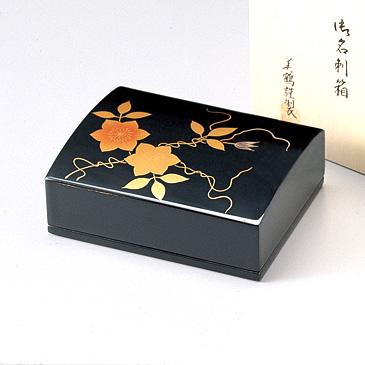 鉄仙 名刺箱(大) 黒  【送料無料】 漆塗り・木製