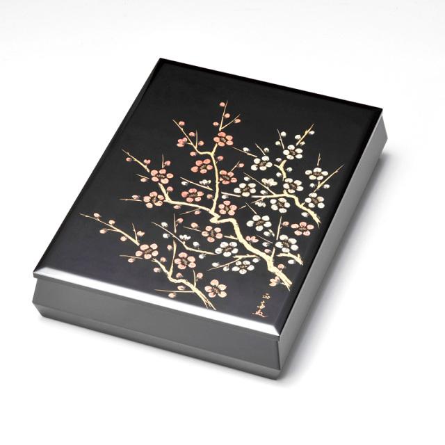 沈金紅白梅 文庫 A4サイズ 黒  【送料無料】 漆塗り・木製