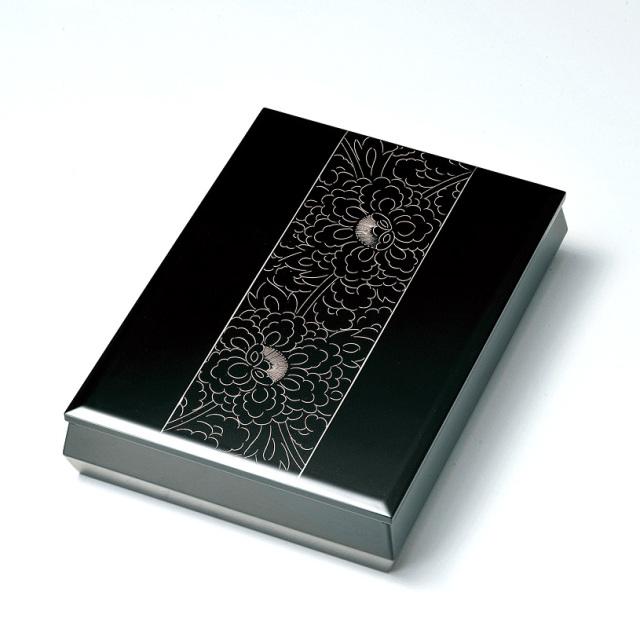 プラチナ牡丹彫 文庫 A4サイズ 黒  【送料無料】 漆塗り・木製