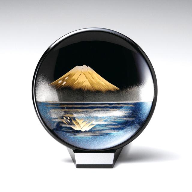 鏡金富士 飾り皿(小)スタンド付  【送料無料】 漆塗り・木製