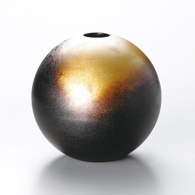 錆模様 丸型花器  【送料無料】 漆塗り