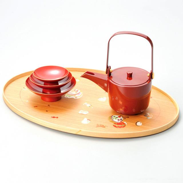 十二支卓上屠蘇器  【送料無料】 漆塗り・木製
