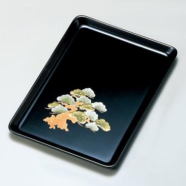 観世松 9.0祝儀盆 黒  【送料無料】 漆塗り・木製