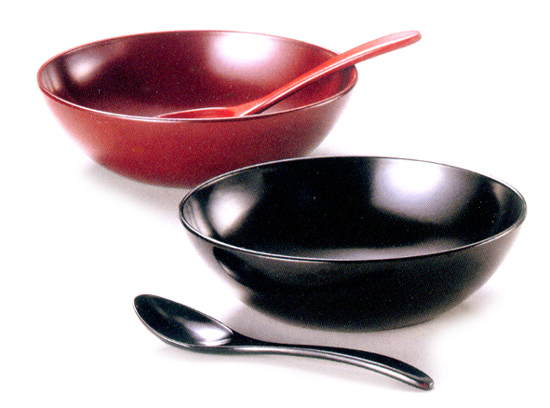 オーバル小鉢ペア 黒・古代朱  漆塗りデザートカップ(製造中止)