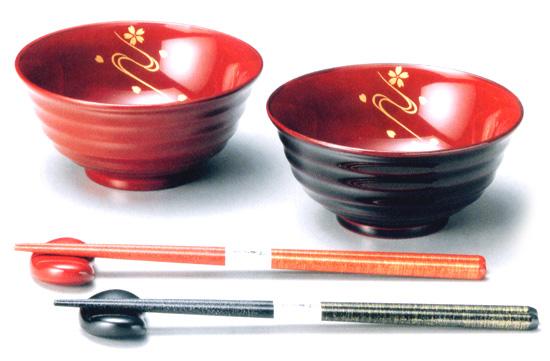 夫婦椀 桜川(製造中止) 木製 ペア 木のお椀・味噌汁椀