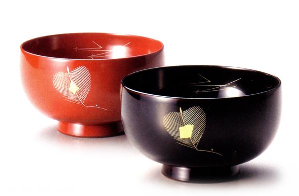 夫婦椀 幸松 溜・朱(製造中止) 木製 漆塗り ペア 木のお椀・味噌汁椀