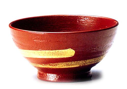 飯椀(小) 金一筆 蒔地 古代朱(製造中止) 木製 漆塗り 木のご飯茶碗