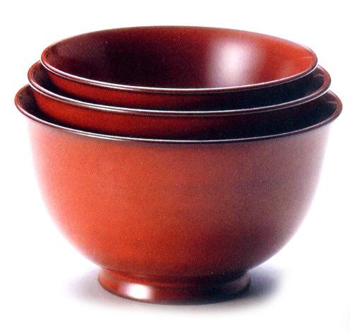 三つ入子椀 百合型 古代朱(製造中止) 木製 漆塗り